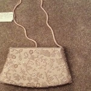 Pink, pale pink, sequin bag, snap closure, new